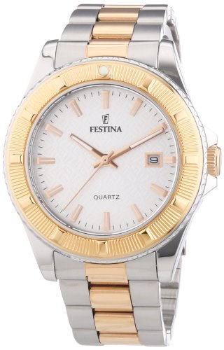 Festina Unisex Quartz Watch with Silver Dial Analogue Display and Two Tone Stainless Steel Bracelet F16685/1