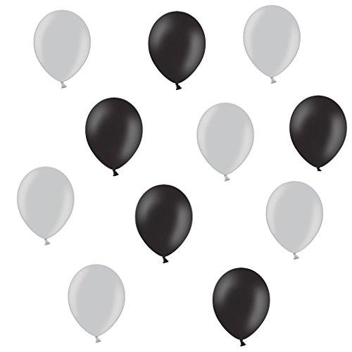 Twist4 30 Premium Luftballons in Silber / Schwarz - Made in EU - 100% Naturlatex somit 100% giftfrei und 100% biologisch abbaubar - Geburtstag Party Hochzeit Silvester Karneval - für Helium geeignet (Dekorationen Und Silber Weiß Schwarz,)