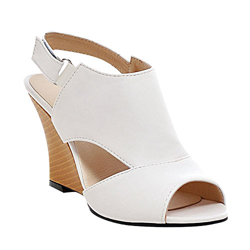 Sandálias Senhora Mee Branco Das Peep Cunha Toe Velcro 54T4R