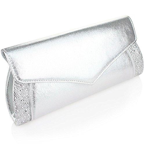Aarz Frauen-Dame-Abend-Handtasche Braut Hochzeit prom Party Diamante Kupplungs-Geldbeutel (Gold, Silber, Champagner, Schwarz) Silber