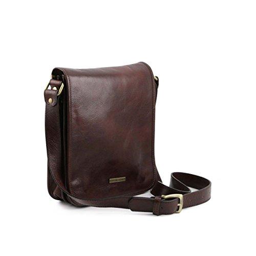 Tuscany Leather - TL Messenger - Sac bandoulière en cuir 2 compartiments Noir - TL141255/2 Marron foncé