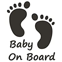 JasonCarlMorgan JCM Graphics Baby On Board 190mm Sticker, Charcoal Grey