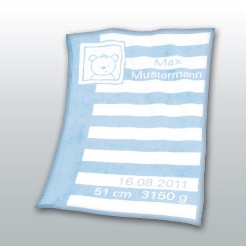 Herding 115023014 Baby coperta con data e i nomi Unicade 75 x 100 cm regalo perfetto per nascita o b