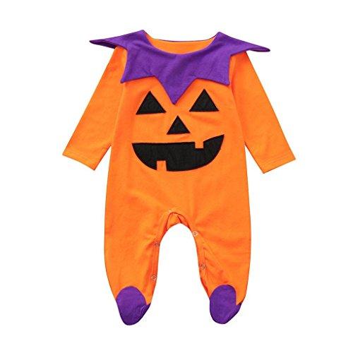 Jumpsuit,Neugeborenes Kleinkind Infant Baby Mädchen Jungen Strampler Overall Halloween Kürbislicht Muster Kostüm Outfits Moginp (60, OR1)