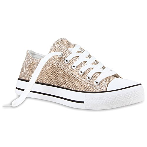 stiefelparadies Modische Damen Sneakers Low Glitzer Turnschuhe 118854 Gold Glitzer 38 Flandell