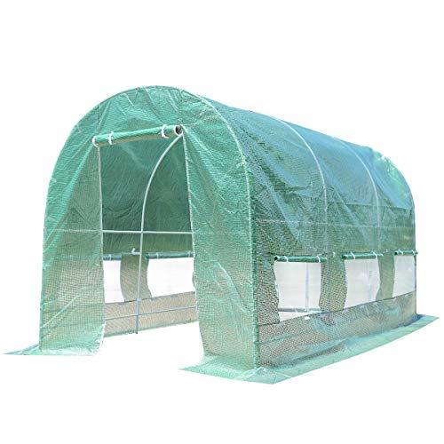 Blitzzauber 24 Tunnel Gewächshaus Foliengewächshaus Tomatenhaus Pflanzenhaus Folienzelt Folienhaus Folientunnel Kräutergewächshaus mit Fenstern grün