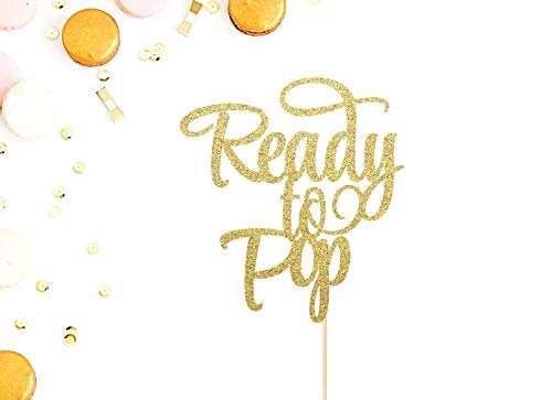 Ready To Pop Cake Topper | Baby Shower Cake Topper | Gender Reveal Party | Mother To Be | Baby Shower Decor | Glittery Gold Baby Cake Topper - Pops Cake Shower Baby