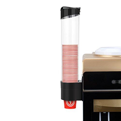Behavetw Dispensador de Taza de Agua montado con máquina de Agua, dispensador de plástico Antipolvo Organizador para Taza de Papel desechable, Negro, 9 * 41.5cm