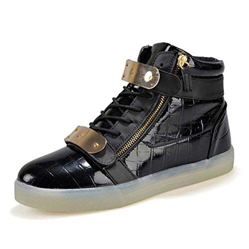 (Present:kleines Handtuch)JUNGLEST Herren Damen High-Top LED Light Glow Sneaker athletischen Sportsschuh Schwarz