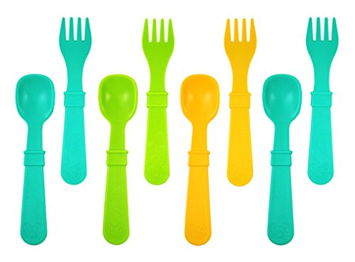 King of Play, Children's Cutlery Set, 4Spoons and 4x Fork | BPA Free | Sustainable Through Recycled Material | Made in USA black