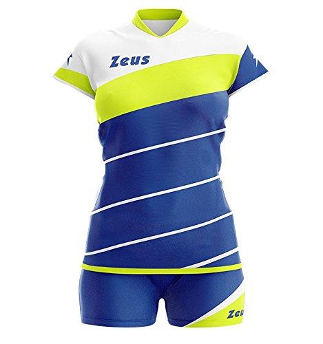 Zeus Kit Lybra Donna Damen Volleyball Trikot Hose Shirt Indoor Handball Training Ausbildung Electric Royal-Gelb Fluo (S)