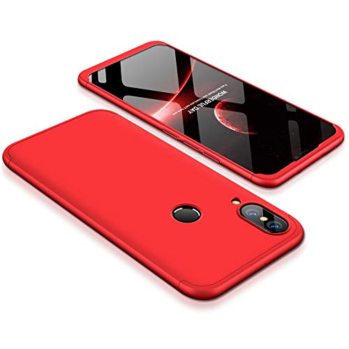 9-evei Huawei P Smart 2019 Hülle, HandyHülle 3 in 1 Ultra Dünner PC Harte Case 360 Grad Ganzkörper Schützend Schutzhülle Tasche für Huawei P Smart 2019 (Rot) -
