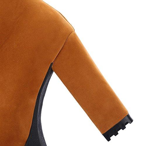 VogueZone009 Donna Punta Tonda Puro Alta Altezza Tallone Spesso Stivali Marrone
