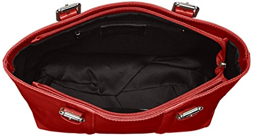 CTM Borsa da Donna a Mano Classica Elegante, 34x30x11cm, Vera Pelle 100% Made in Italy Rosso