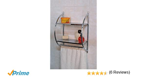 Portasciugamani Bagno Muro : Mensola da muro cromata per il bagno con due ripiani e due