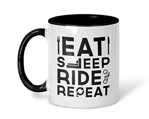Tazas de café para moteros, para comer y dormir, repetidas, para moteros, tazas para él para sus tazas de viaje