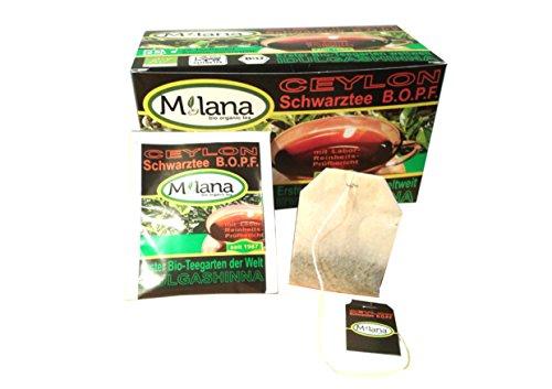 """25 """"Milana-Bio-Schwarzteebeutel, ... der Tee, der nach Liebe schmeckt"""" - Sie werden begeistert sein!!! Mehrfach, international ausgezeichneter und von den global namhaftesten, ökologischen und sozialen Erzeugerverbänden prämierter, handgepflückter Ceylon Premium Bio-Schwarztee B.O.P.F. (Broken Orange Pekoe Fannings), in Aroma versiegelte Schutzhüllen verpackt, aus kontrolliert ökologischem Anbau mit Labor-Reinheits-Prüfbericht und 10 Prozent Hilfsförderung GEGEN KINDERARBEIT"""