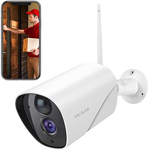 Victure 1080P WLAN IP Kamera Überwachungskamera Aussen PIR Bewegungserkennung Wasserdicht mit Nachtsicht 2.4Ghz WiFi Outdoor Bullet Kamera kompatibel mit IOS/Android