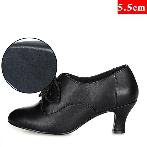 Wxmddn Pattini di ballo latino femminili scarpe da ballo da ballo nero per adulti scarpe da ballo indoor da 5,5 cm scarpe da ballo indoor scarpe da ballo Nero 5,5 cm indoor