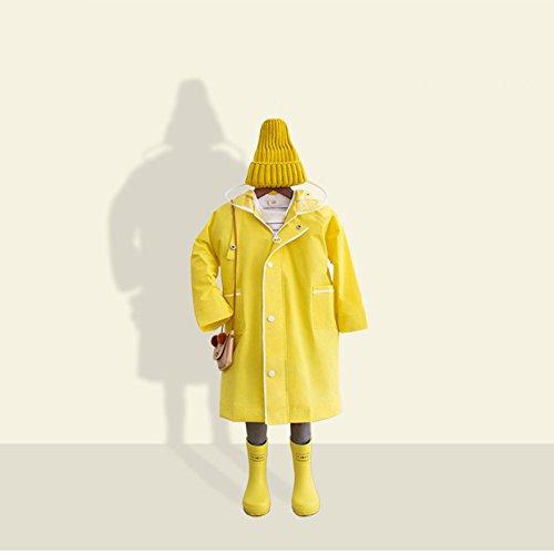 FEIFEI Enfants imperméable EVA matériel garçon rafraîchissant protection de l'environnement en plein air filles portable coupe-vent imperméable à la pluie protection contre le soleil voyage bleu jaune rose ( Couleur : Le jaune , taille : S )