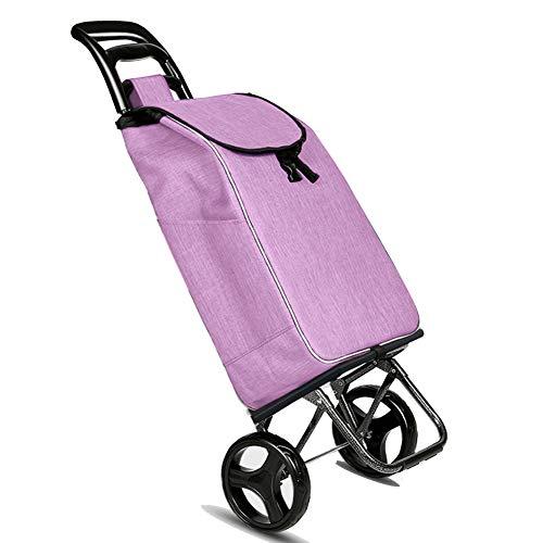 QIANGDA-Handwagen Faltbar Einkaufstrolley Einkaufswagen Entfernbar Waschbare Tasche Tragbar Auslaufsicherer Boden Verschleißfestes Rad, 6 Farben (Farbe : Purple, größe : 40 x 32 x 95cm)