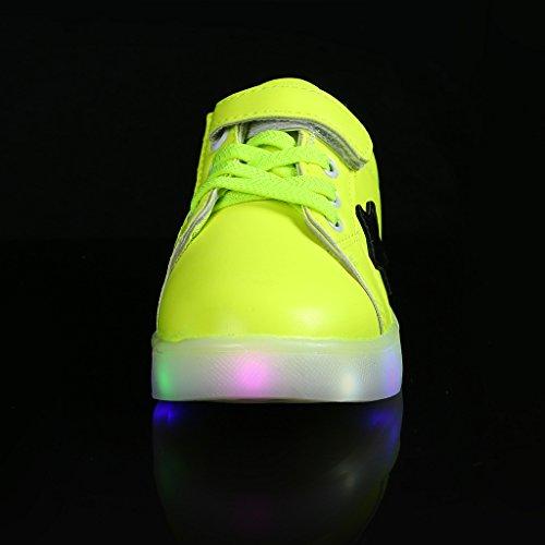SAGUARO® Kinder Junge Mädchen Leuchtend Schuhe Bunte LED Sportschuhe Sneakers Athletische Grün