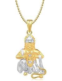 Meenaz Hanuman Bajrangi God Gold Plated Pendant & Locket Cz In American Diamond For Men & Women Girls GP202