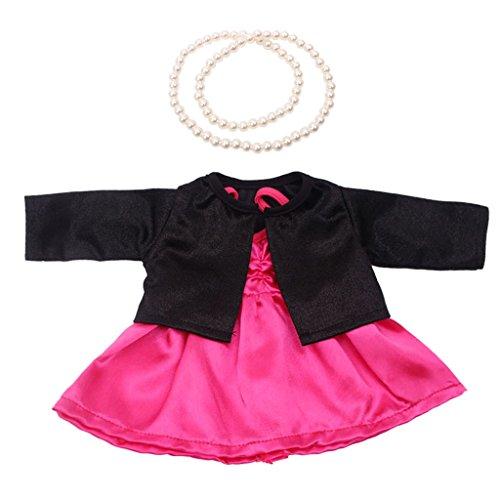 Gazechimp Lindo Vestido de Fiesta Rosa + Abrigo de Manga Larga + Collar para 18 Pulgadas American Girl Dolls