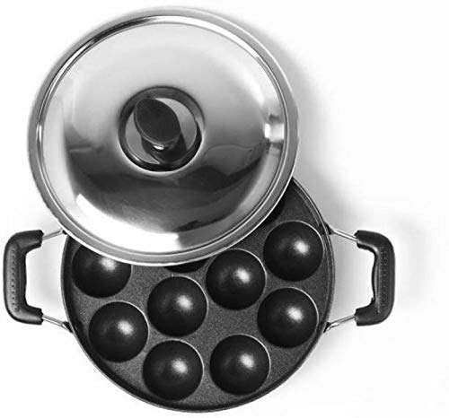 SUNDRY Non Stick 12 Cavity Appam patra with Side Handles and lid (Large Size, Red/Brown/Maroon) Color May Vary