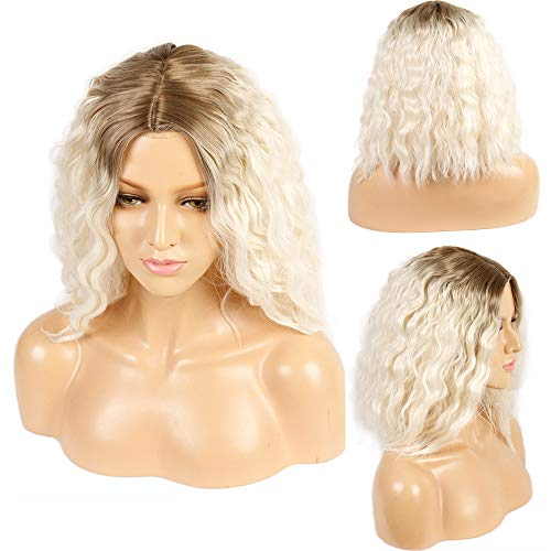 Ivan Cosmetic 6inch Part Space Short Bob Silk White Base Top Lace Wig 2Tones Ombre Dark Roots to Blonde Wave Hair Heat Resistant Fiber Middle Parting 14inch For White Women.