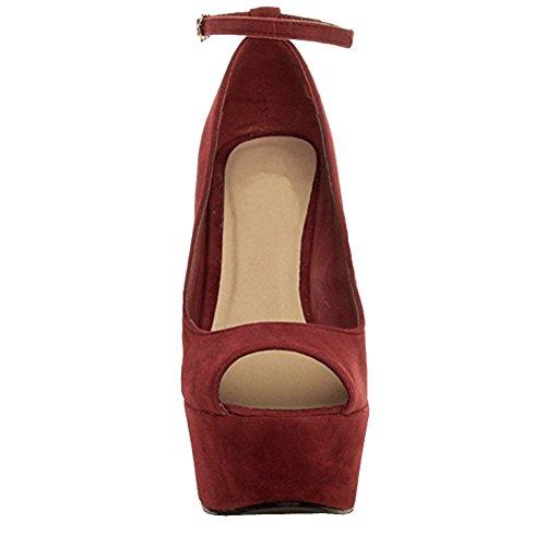 MERUMOTE Damen Y-180 Peep Toe hoher Plattform Keil Pumpen Ankle Strap mit Schnallenverschluss Schuhen Dunkelrot