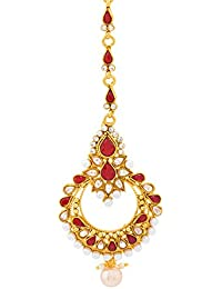 Voylla Traditional Alloy With Yellow Gold Plated Cubic Zirconia Maang Tika For Women