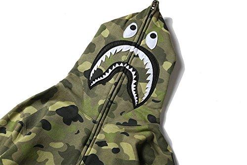 Sissiren Autunno Felpa a Maniche Dello Squalo da Uomo Giacca con Cappuccio Stile Militare Camuffare