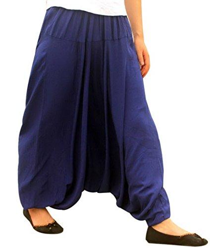 Aivtalk - Pantalons Harem Yoga Femme - Pantalons Népal Sarouel Taille élastique - Pantalons Casual été Bleu Foncé
