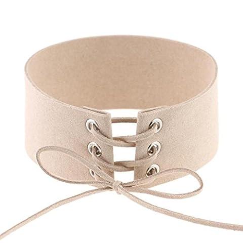 Chaînes Femmes Choker, Reaso Solide Bandage Neck Décoration Bijoux (Beige)