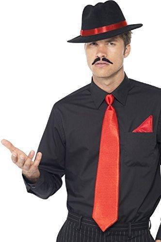 Al Capone Bugsy Malone 1920s Jahre Filzhut Hut Krawatte Taschentuch Kostüm Set (1920s Gangster Kostüm Herren)