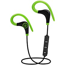 Auriculares Inalambricos Bluetooth Deportivos In Ear para Hacer Deporte Correr Running Compatible con Samsung, iPhone, LG, Sony, Motorola, Blackberry, Nokia, Tablet, etc (Verde)