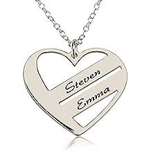 HACOOL in argento Sterling 925, pendente a forma di cuore personalizzato Name-Collana personalizzata con nome - Dome Rose Collana
