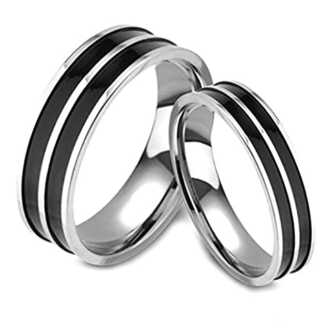 AnaZoz (Free Engarving) Fashion Jewelry Simple Silver Plated Wedding Bands Comfort Fit Double Black Strip Agate Ring for Men 5mm US Size