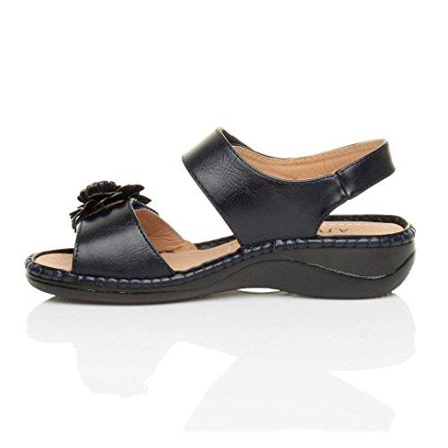 aa745cf227d241 ... Femmes velcro strappy une fleur confortables décontractées sandales  pointure Bleu Marine ...