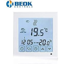 Beok BOT-323W Thermostat Chaudiere a Pile Filaire Thermostat programmable intelligent pour chauffage de chaudières à gaz, blanc 3A, blanc, 1,50 voltsV