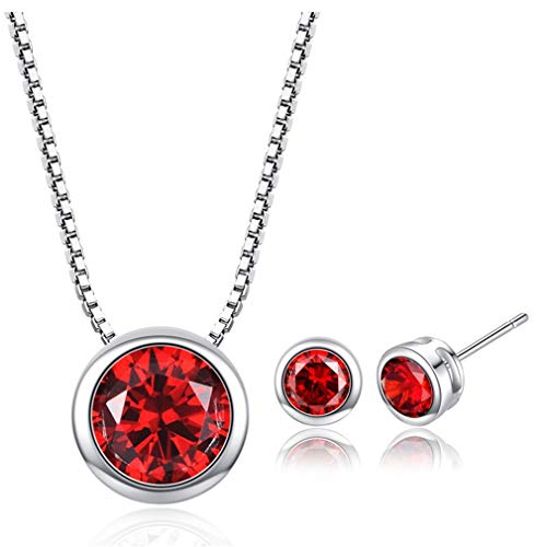 Yazilind Stylish Jewellery Set Round Crystal Ohrstecker & Halskette Jewelry Set Gift Her Red