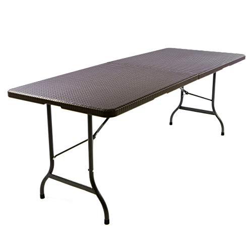 Nexos GM34544 Klapptisch 183 x 76 x 74 cm Partytisch Catering Gartentisch klappbar Campingtisch bis 170 kg stabil robust Wetterfest 18,5 kg Tragegriff weiß schwarz Farbe wählbar (Braun)