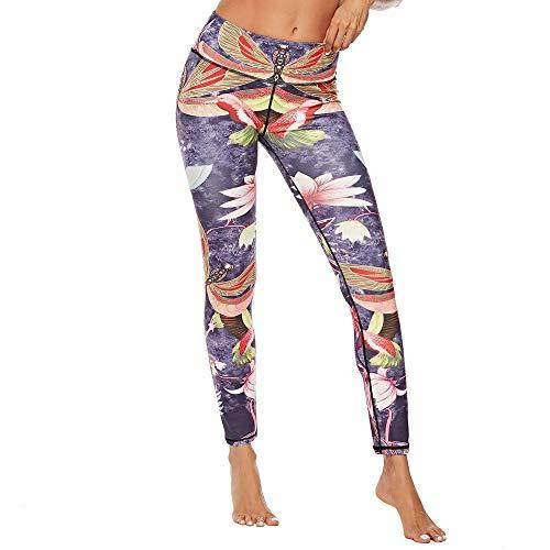 QINPIN Frau chinesischen nationalen Stil drucken Hüfthose Yogahosen Leggings S