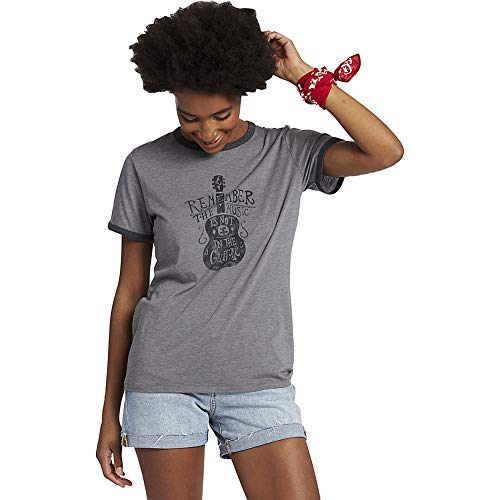 Life Is Good Women's Ringer Cool Tee Music is Not In The Guitar, Slate Gray, X-Small