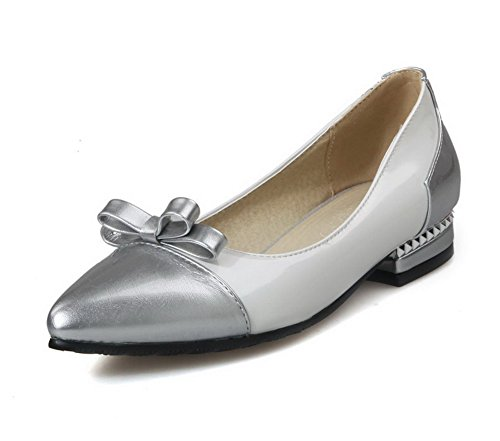 VogueZone009 Femme Pointu Tire Pu Cuir Couleurs Mélangées à Talon Bas Chaussures Légeres Blanc