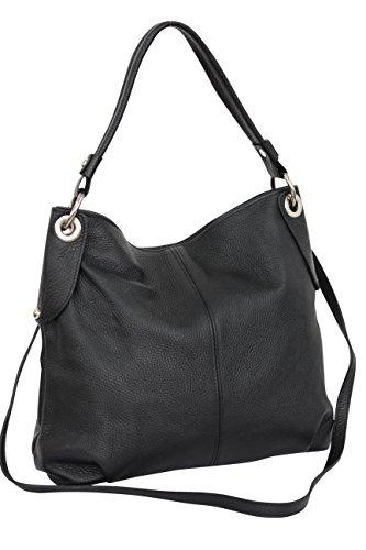 AMBRA Moda Damen echt Ledertasche Handtasche Schultertasche Beutel Shopper Umhängtasche GL012 (Schwarz) -
