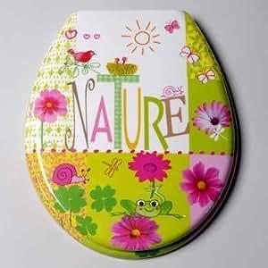 FoxTrot 1200NATU Abattant WC Motif Nature Plastique Thermodur 4,6 x 39 x 4,5 cm