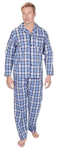 Preisvergleich Produktbild Herren Lang Traditionell Schlafanzüge 2-teilig Klassische Set Krankenhaus Top + Böden Nachtwäsche Größe S - XXL - Marineblau/Blau/Grau Hinterlegt, Small