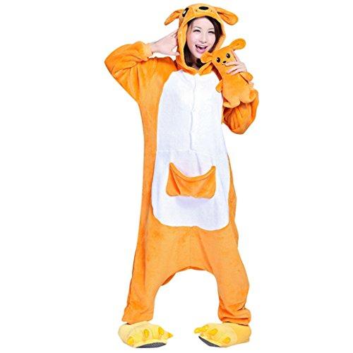 Keral Unisex Pyjama Tierkostüme Schlafanzug Tier Onesize mit Kapuze Erwachsene Overall Kostüm festival tauglich Ente Känguru Größe L